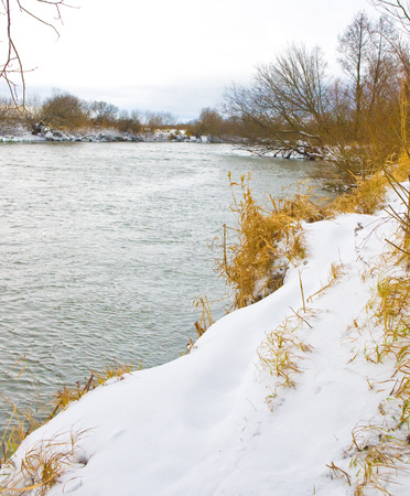 River covered with snow  photo