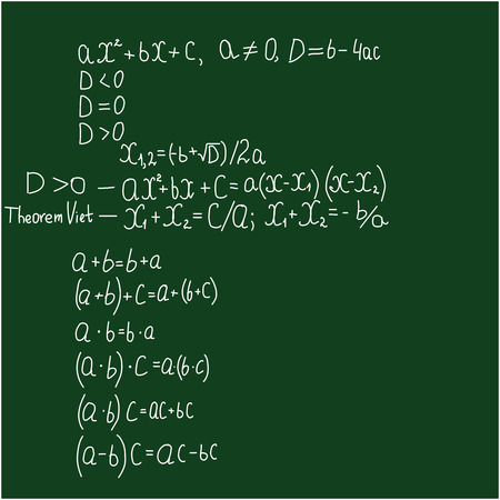 equations: Quadratic equations and laws of action on numbers
