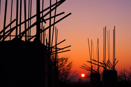 armature: Armature from concrete columns at sunset Stock Photo