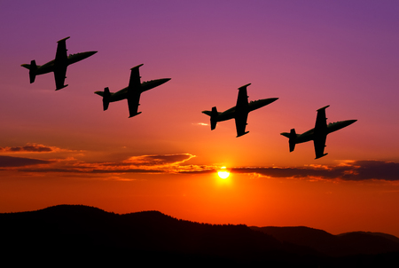 jets: Fighter jets in the sky at sunset