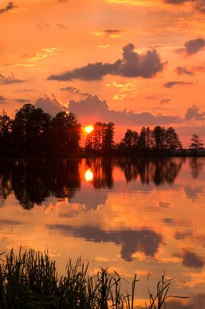 lake sunset: Sunset on the lake Stock Photo