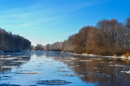 Winter river in early morning Archivio Fotografico - 96392824