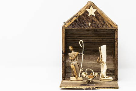 Alternative Christmas nativity scene worked with wood and other materials, made by artisans of Kenya.