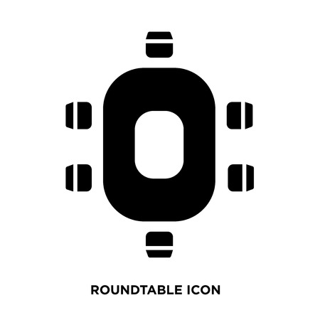 Oval table with chairs icon vector Illustration