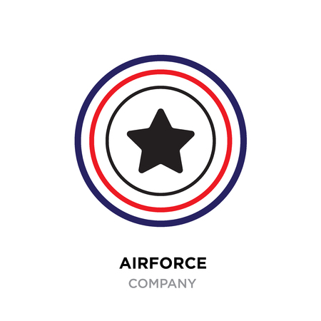 Airforce logo, Military armed forces badges and labels vector icon with black styled star with red and black lines