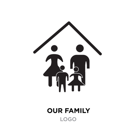 our family logo, happy family vector design at home template isolated on white background
