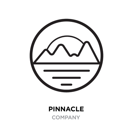 pinnacle logo, linear mountains vector isolated on round  white background
