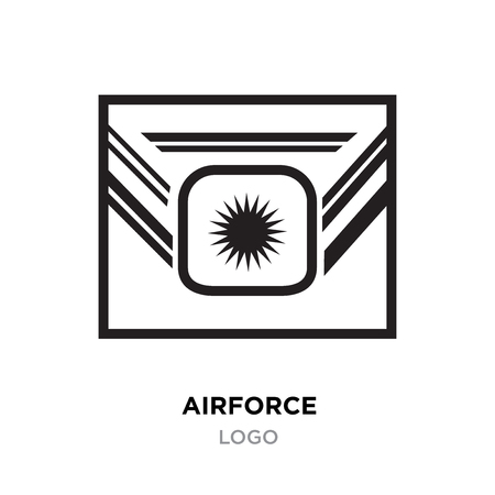 Airforce logo, Military armed forces badges and labels vector icon with black styled star in letter style Illustration