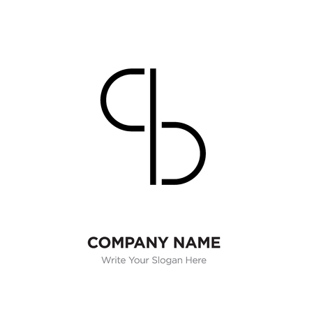 Abstract letter BC,CB logo design template, Black Alphabet initial letters company name concept. Flat thin line segments connected to each other