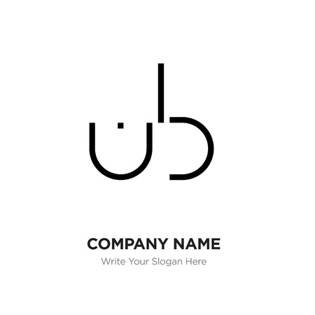 Abstract letter BU,UB logo design template, Black Alphabet initial letters company name concept. Flat thin line segments connected to each other Illustration
