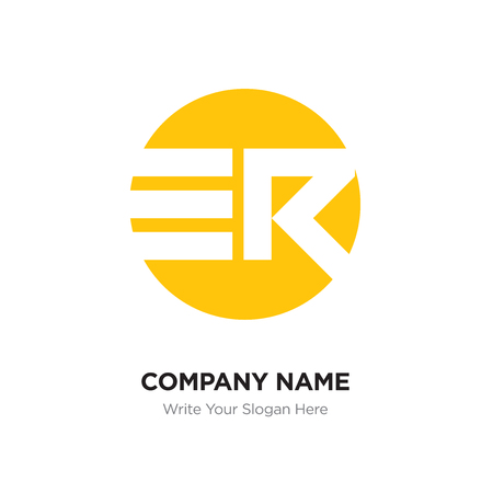 Abstract letter ER RE logo design template, yellow Alphabet initial letters company name concept. Flat thin line segments connected to each other