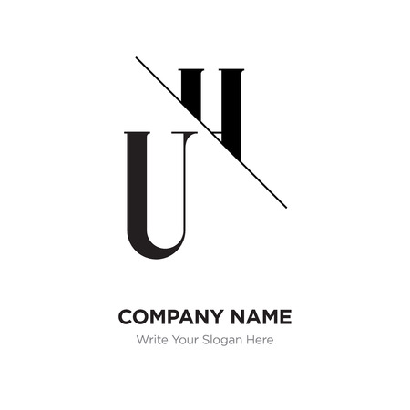 Abstract letter UH,HU logo design template, black&white Alphabet initial letters company name concept. Flat thin line segments connected to each other Vettoriali