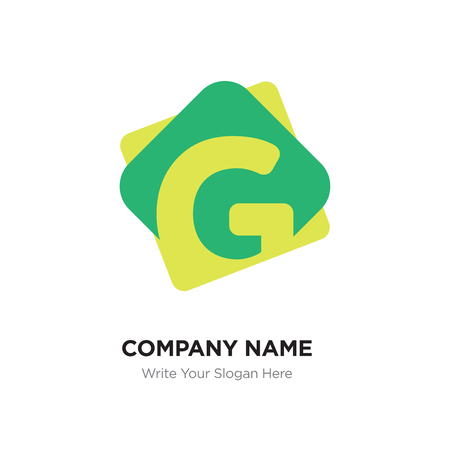Abstract letter G logo design template. Yellow vector icon on green background.