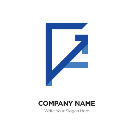 Abstract letter GF,FG logo design template, blUE Alphabet initial letters company name concept. Flat thin line segments connected to each other Illustration