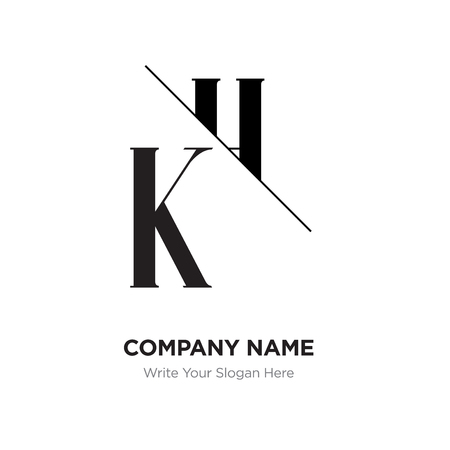 Abstract letter KH,HK logo design template, black&white Alphabet initial letters company name concept. Flat thin line segments connected to each other