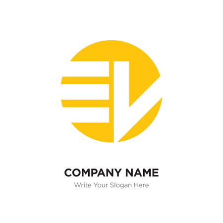 Abstract letter EW WE logo design template, yellow Alphabet initial letters company name concept. Flat thin line segments connected to each other Illustration