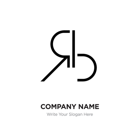 Abstract letter BR,RB logo design template, Black Alphabet initial letters company name concept. Flat thin line segments connected to each other Illustration