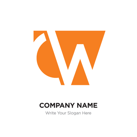 Abstract letter CW,WC logo design template, orange Alphabet initial letters company name concept. Flat thin line segments connected to each other