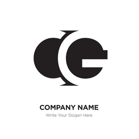 Abstract letter CG GC logo design template, Black Alphabet initial letters company name concept. Flat thin line segments connected to each other