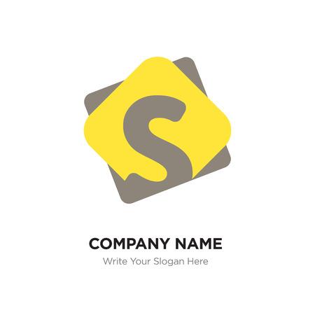 Sjabloon voor abstract letter S-logo ontwerp. Zwart vectorpictogram op gele achtergrond. Logo