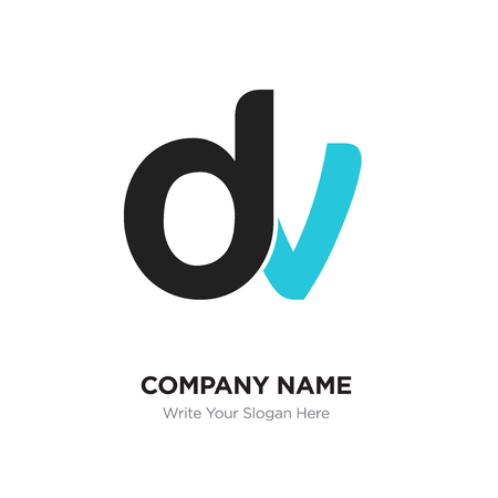 Abstract letter dv,vd logo design template, black & blue Alphabet initial letters company name concept. Flat thin line segments connected to each other