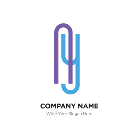 Ay or yA Letter Logo with blue and purple line elements. Abstract geometric design, Elegant Alphabet logotype. Illustration