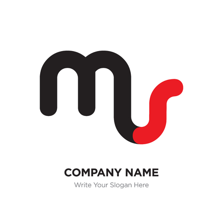 Abstract letter ms or sm logo design template, Black Alphabet initial letters company name concept. Flat thin line segments connected to each other