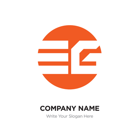Abstract letter EG GE logo design template, Orange Alphabet initial letters company name concept. Flat thin line segments connected to each other