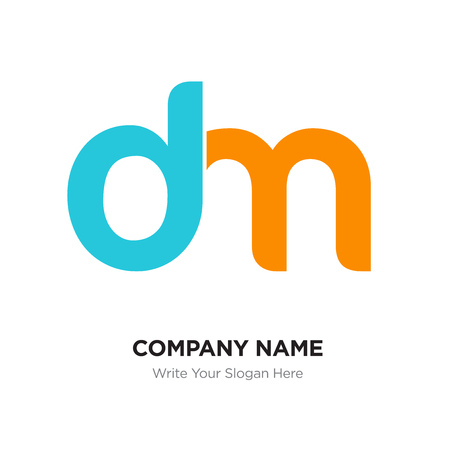 Abstract letter dm, md logo design template, blue & yellow Alphabet initial letters company name concept. Flat thin line segments connected to each other