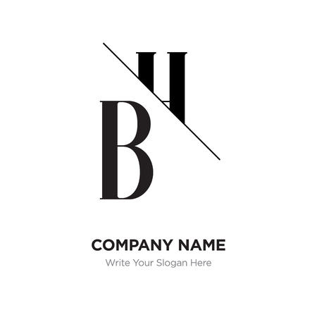 Abstract letter BH,HB logo design template, black&white Alphabet initial letters company name concept. Flat thin line segments connected to each other