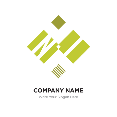 Abstract letter NI or IN logo design template, Black Alphabet initial letters company name concept. Flat thin line segments connected to each other