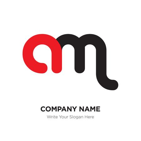 Modèle de conception de logo abstrait lettre am, concept de lettres initiales de l'alphabet noir. Segments de lignes minces plats connectés les uns aux autres