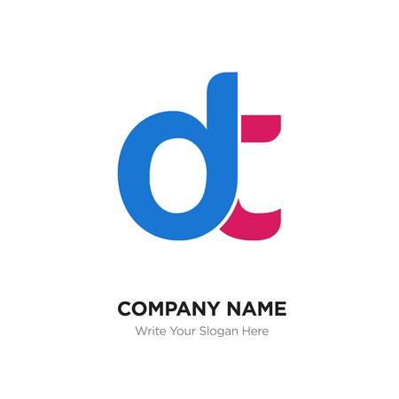 Abstract letter dt,dt logo design template, blue
