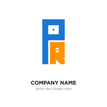Abstract letter PR or RP logo design template, Black Alphabet initial letters company name concept. Flat thin line segments connected to each other
