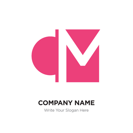 Abstract letter CM logo design template, Pink Alphabet initial letters concept. Flat thin line segments connected to each other