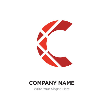 C Letter Logo with red connected line elements. Abstract geometric design, Elegant Alphabet logotype.