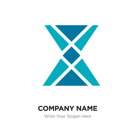 X Letter Logo with blue & green connected line elements. Abstract geometric design, Elegant Alphabet logotype. Illustration