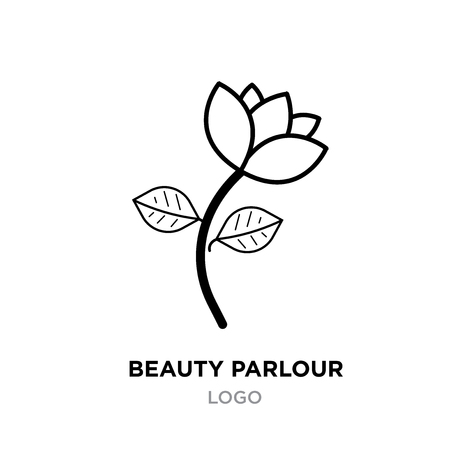 Beauty parlour logo for company, linaer flower icon