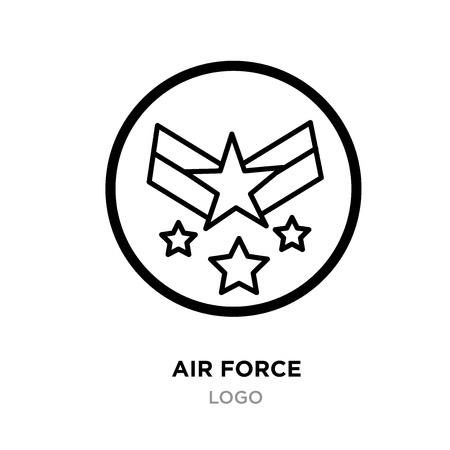 Air force logo images, linear Military emblem icon image with stars, vector illustration design