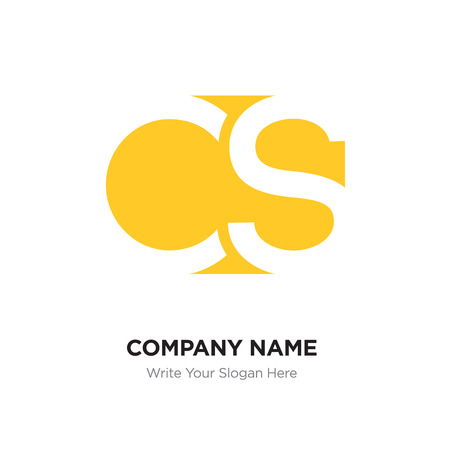 Abstract letter CS SC logo design template, Yellow Alphabet initial letters concept. Flat thin line segments connected to each other