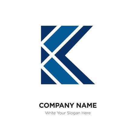 K Letter Logo with blue & black connected line elements. Abstract geometric design, Elegant Alphabet logotype. Vettoriali