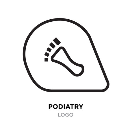 Podiatry logo, foot or Footsteps vector illustration isolated on black background Vettoriali