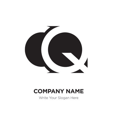 Abstract letter CQ QC logo design template, Black Alphabet initial letters concept. Flat thin line segments connected to each other