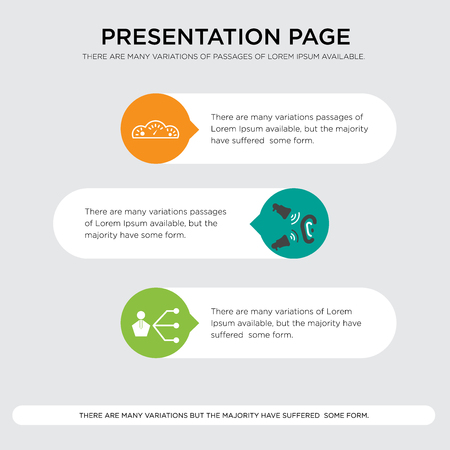 third party, word of mouth, mileage presentation design template in orange, green, yellow colors with horizontal and rounded shapes