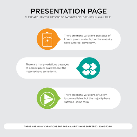 video play, soft skill, empower presentation design template in orange, green, yellow colors with horizontal and rounded shapes