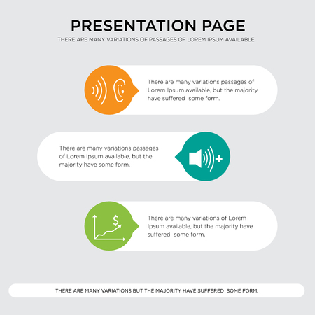 cost efficiency, whisper presentation design template in orange, green, yellow colors with horizontal and rounded shapes Vector illustration.