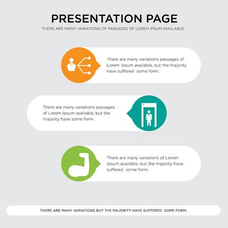 Presentation design template with horizontal and rounded shapes Illustration
