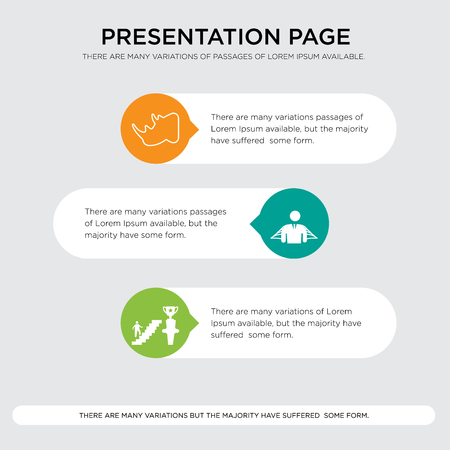 Presentation design template with horizontal and rounded shapes Çizim