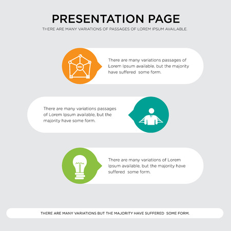 Presentation design template with horizontal and rounded shapes