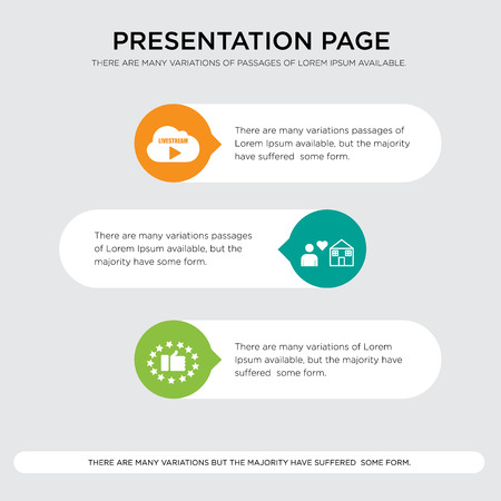 satisfied customer, fidelity, live stream presentation design template in orange, green, yellow colors with horizontal and rounded shapes Vector illustration. Illustration